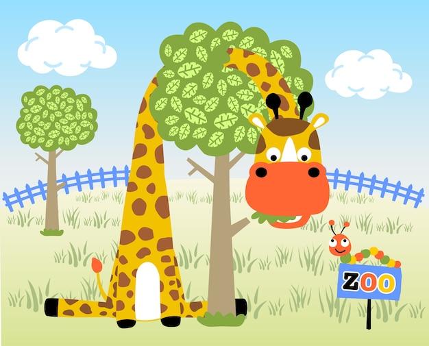 Cartoon vettore di giraffa e bruco nello zoo