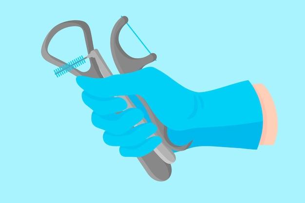 Mano del fumetto vettoriale di un dentista in un guanto blu che tiene uno strumento dentale: raschietto per lingua e vari filo interdentale.