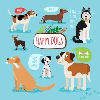 Cani disegnati a mano del fumetto di vettore con i fumetti
