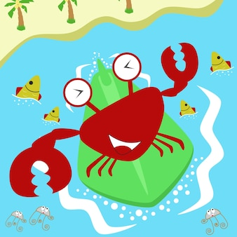 Vettore di cartone animato granchio felice che fa surf in mare