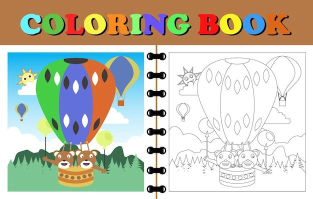 Fumetto di vettore dell'elicottero libro da colorare o pagina del fumetto