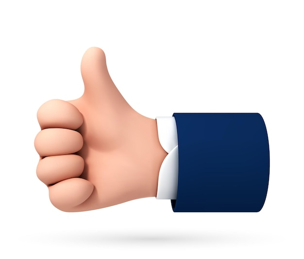 Vector cartoon mano umana pollice in alto per il successo o un buon feedback isolato su sfondo bianco. illustrazione vettoriale di concetto positivo e simbolo simile.