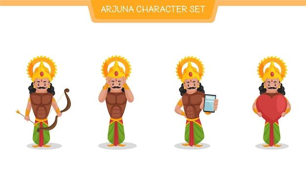 Illustrazione del fumetto di vettore del set di caratteri di arjuna