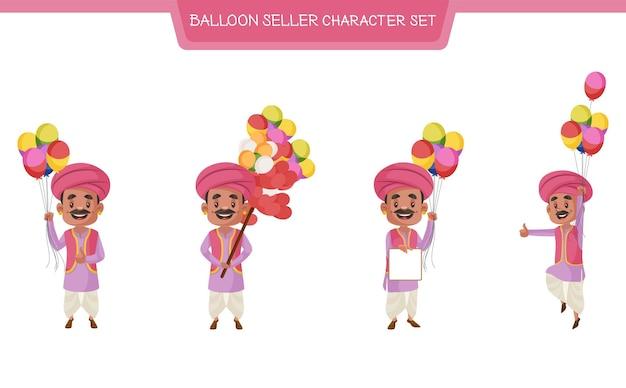 Illustrazione del fumetto di vettore del set di caratteri del venditore di palloncino