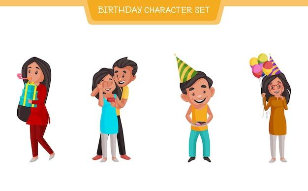 Illustrazione del fumetto di vettore del set di caratteri di compleanno
