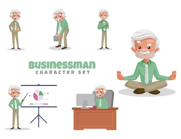 Illustrazione del fumetto di vettore del set di caratteri dell'uomo d'affari