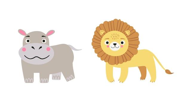 Illustrazione del fumetto di vettore di simpatici animali safari del fumetto - ippopotamo e leone su sfondo bianco