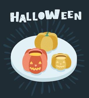 Vector cartoon illustrazione di un cartone animato zucche di halloween scolpito con una faccia su di esso sul tavolo. lettere disegnate a mano su sfondo nero+
