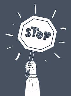 Illustrazione del fumetto di vettore del segno del fumetto composizione in bianco e nero su bakcground scuro.+