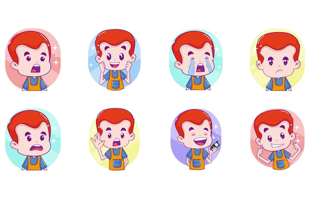 Illustrazione del fumetto di vettore del set di adesivi ragazzo carino