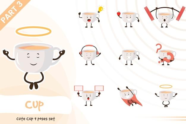 Illustrazione del fumetto di vettore del set di tazze carino