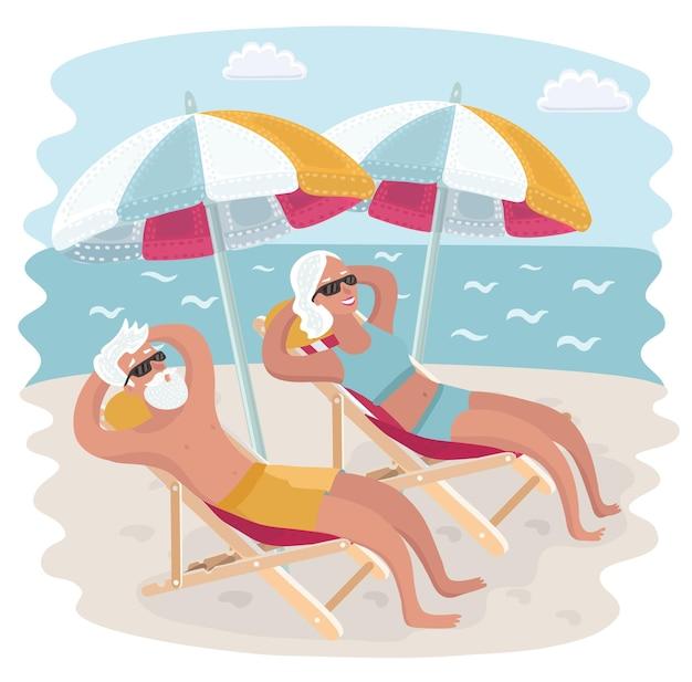 Illustrazione del fumetto di vettore delle coppie anziane che si rilassano nelle loro sedie a sdraio sotto l'ombrellone sulla spiaggia del mare. prendere il sole