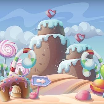 Illustrazione del fumetto di vettore di una caramella al caramello di pan di zenzero sotto una composizione di cielo nuvoloso