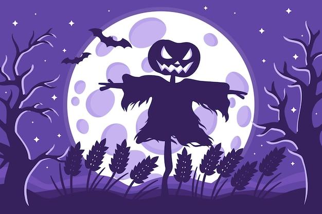 Illustrazione del fumetto di vettore della siluetta dello spaventapasseri di halloween in un campo di grano su una priorità bassa della luna piena