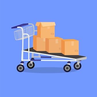 Illustrazione del fumetto di vettore del carrello a mano con scatole preparate per l'animazione
