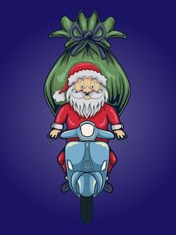 Illustrazione del fumetto di vettore di babbo natale felice con un sacco regalo in sella a uno scooter