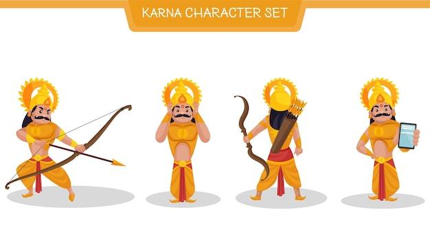 Illustrazione del fumetto di vettore del set di caratteri di karna