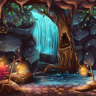 Illustrazione del fumetto di vettore di una cascata magica in una grotta sotto la corona di un albero in espansione
