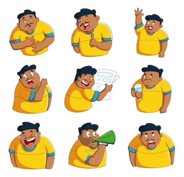 Illustrazione del fumetto di vettore dell'insieme dell'autoadesivo dell'uomo.