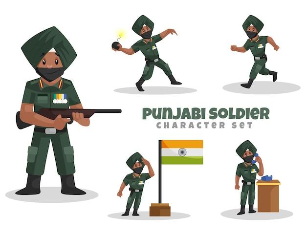 Vector cartoon illustrazione del set di caratteri del soldato punjabi