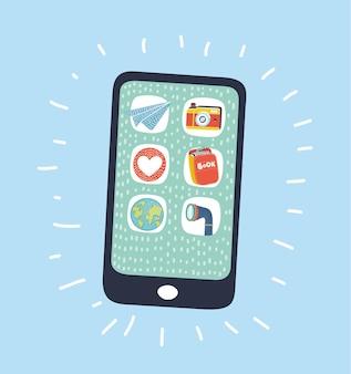 Illustrazione del fumetto di vettore di schizzo smartphone con app icone sul display. smartphone su sfondo blu.