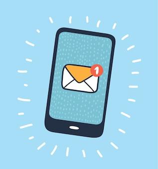 Illustrazione del fumetto di vettore dell'icona di posta elettronica o sms dello smartphone