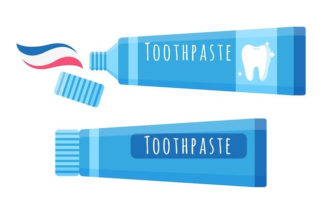 Illustrazione del fumetto di vettore di dentifricio per l'igiene orale isolato su priorità bassa bianca.