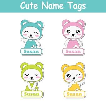 Illustrazione di cartone animato vettoriale con panda baby variopinti colorati adatti per il design del set di etichetta del nome del capretto, il nome dell'etichetta ed insieme dell'etichetta stampabile