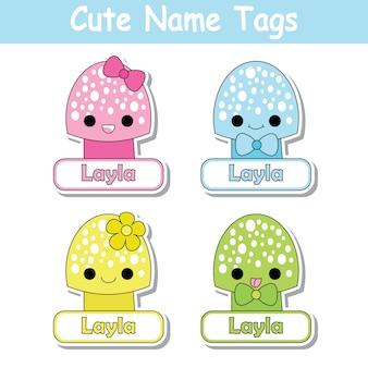 Illustrazione di cartone animato vettoriale con funghi carino colorato adatto per il nome del figlio design tag set, nome etichetta e set di adesivi stampabili