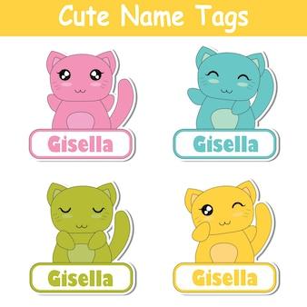 Illustrazione di cartone animato vettoriale con gatti colorati kawaii adatti per il nome del figlio design tag set, nome etichetta e set di adesivi stampabili