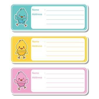 Illustrazione cartoon vettoriale con pulcini baby cute su sfondo colorato adatto per designazione di etichetta indirizzo per bambini, tag di indirizzi e set di adesivi stampabili