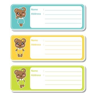 Illustrazione di cartone animato vettoriale con le ragazze orso sveglio su sfondo colorato adatto per designazione di etichetta indirizzo per bambini, tag di indirizzi e set di adesivi stampabili