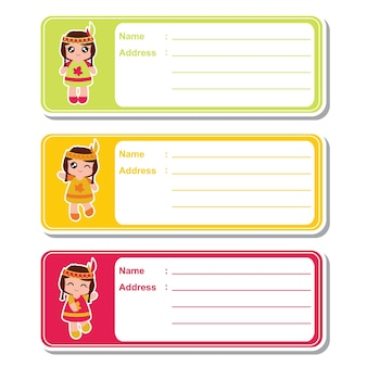 Illustrazione del fumetto vettoriale con le ragazze indiane sveglie su sfondo colorato adatto per il design dell'etichetta dell'indirizzo del capretto, il contrassegno dell'indirizzo e l'insieme dell'autoadesivo stampabile