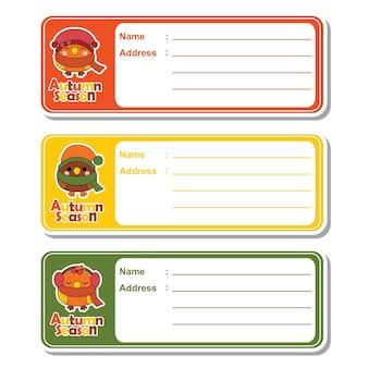 Illustrazione cartoon vettoriale con carino uccelli kawaii su sfondo colorato adatto per designazione di etichetta indirizzo per bambini, etichetta di indirizzi e set di adesivi stampabili