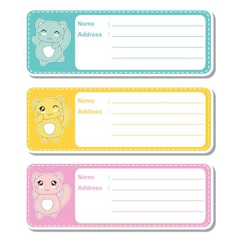 Illustrazione cartoon vettoriale con gatti carino kawaii su sfondo colorato adatto per designazione di etichetta indirizzo per bambini, tag di indirizzi e set di adesivi stampabili