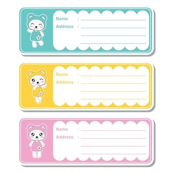Illustrazione cartoon vettoriale con cute panda kawaii su sfondo colorato adatto per designazione di etichetta indirizzo per bambini, tag di indirizzi e set di adesivi stampabili