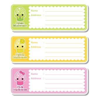 Illustrazione cartoon vettoriale con funghi carino su sfondo colorato adatto per designazione di etichetta indirizzo per bambini, tag di indirizzi e set di adesivi stampabili