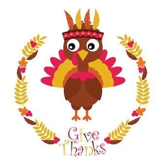 Illustrazione cartoon vettoriale con tacchino carino in foglie di acero corona adatto per felice disegno di ringraziamento di ringraziamento, tag grazie e carta da parati stampabile