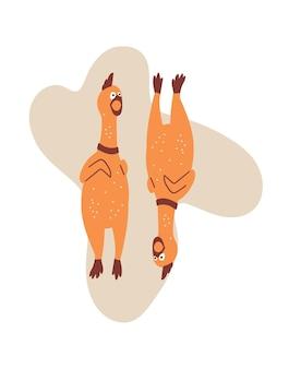 Illustrazione del fumetto di vettore con i polli di gomma