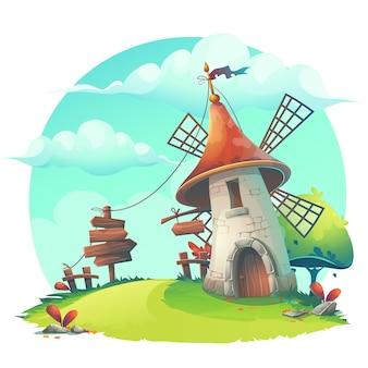Illustrazione del fumetto di vettore con un mulino a vento, siepe, recinzione, palizzata, albero, fiore, rocce
