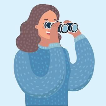 Illustrazione del fumetto di vettore della donna che osserva tramite il binocolo
