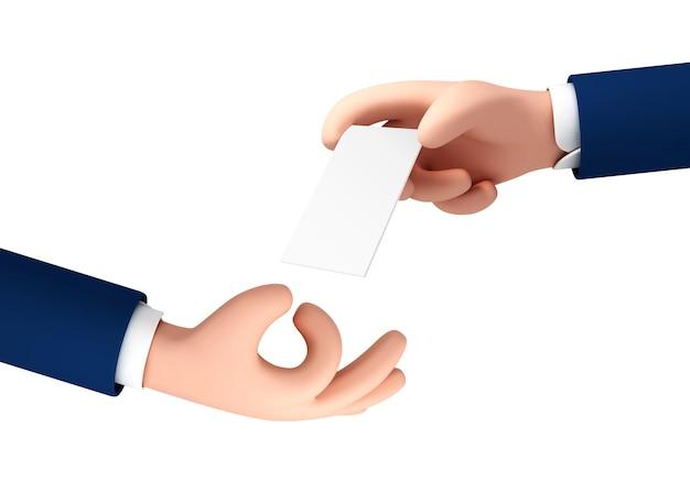 La mano dell'uomo del fumetto vettoriale dà un biglietto da visita alla mano di un'altra persona. mano del fumetto che tiene biglietto da visita bianco vuoto, carta di credito isolata su priorità bassa bianca.