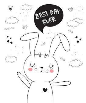 Manifesto del fumetto vettoriale con simpatico animale scarabocchio con frase scritta motivazionale