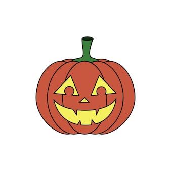 Zucca del fumetto di vettore con la faccia sorridente jack o lantern icona arancione per halloween