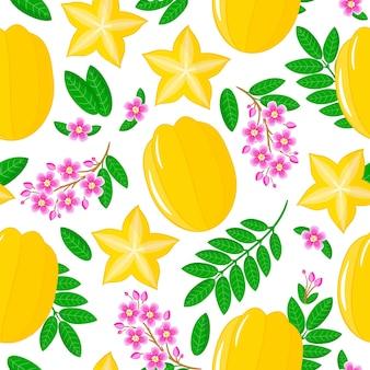Reticolo senza giunte del fumetto di vettore con averrhoa carambola o frutta a stella frutti esotici, fiori e foglie