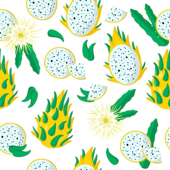 Vector cartoon seamless pattern con dragonfruit o yellow pitaya frutti esotici, fiori e foglie su sfondo bianco