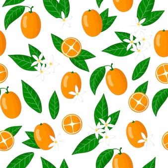 Vector cartoon seamless pattern con fortunella o kumquat frutti esotici, fiori e foglie