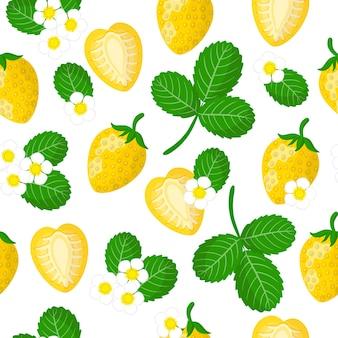 Reticolo senza giunte del fumetto di vettore con fragaria ananassa o fragole gialle frutta esotica, fiori e foglie