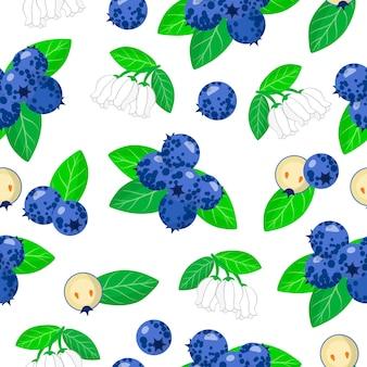Vector cartoon seamless pattern con vaccinium myrtillus o mirtilli frutti esotici, fiori e foglie
