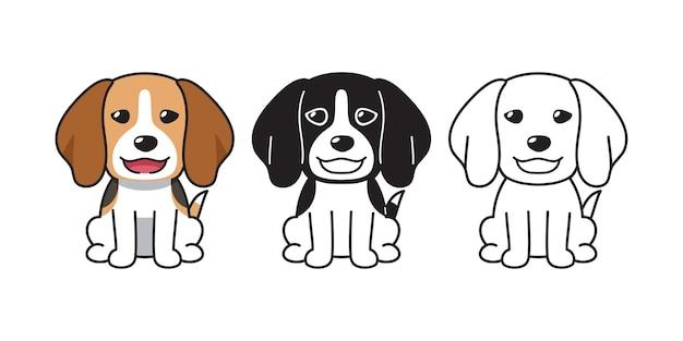 Insieme del fumetto di vettore del cane beagle per design